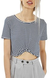 Topshop Women's Twist Front Stripe Crop Top