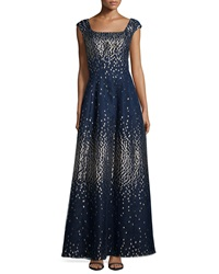 Kay Unger New York Metallic Dot Cap Sleeve Gown