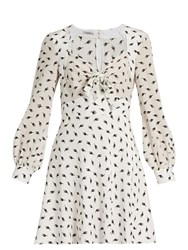 Miu Miu Cat Print Long Sleeved Silk Dress White Multi