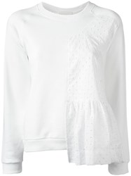 Peter Jensen Ruffle Panel Sweatshirt White