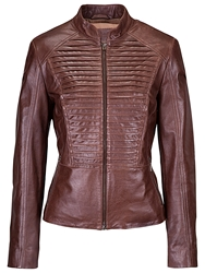 Betty Barclay Leather Jacket Tobacco Brown