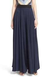 Women's Milly Side Slit Stretch Silk Maxi Skirt
