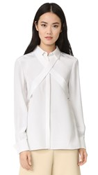 Tibi Silk Tie Blouse White