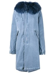 Mr And Mrs Italy Raccoon Fur Hood Unlined Parka Blue