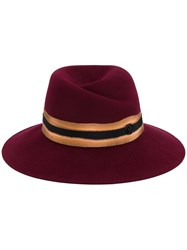 Maison Michel Virginie Contrast Band Fedora Hat Red