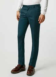 Topman Teal Wool Blend Flannel Skinny Fit Suit Trousers Green