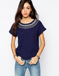 Lee Jeans Emma T Shirt With Printed Neck Blue