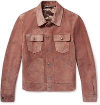 Tom Ford Slim Fit Suede Trucker Jacket Pink
