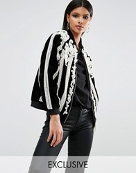 A Star Is Born Beaded Bomber Jacket With Pearls Black White