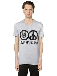 Love Moschino Peace Print Stretch Jersey T Shirt