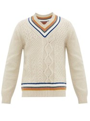 Missoni Striped Cable Knit V Neck Sweater Cream