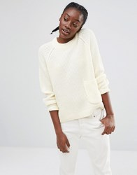 Monki Pocket Detail Knitted Jumper Off White