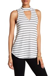 Chenault Striped Sleeveless Mock Neck Shirt White