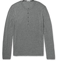 James Perse Slim Fit Melange Cotton And Linen Blend Henley T Shirt Gray