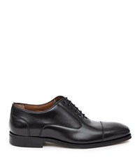 Reiss Reston Leather Oxford Toe Cap Shoes In Black