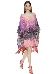 Etro Printed Crepe De Chine Poncho Dress