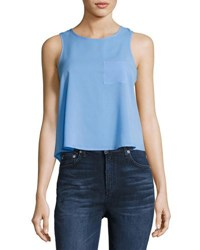 French Connection Polly Plains Sleeveless Crop Tank Top Light Blue