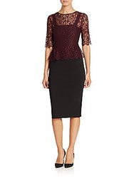 Lk Bennett Lace Overlay Three Quarter Sleeve Dress Black Cherry