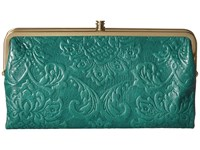 Hobo Lauren Damask Embossed Teal Green Clutch Handbags