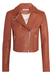 Elizabeth And James Gigi Cropped Leather Biker Jacket Camel