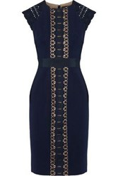 Catherine Deane Guipure Lace Paneled Stretch Knit Dress Navy