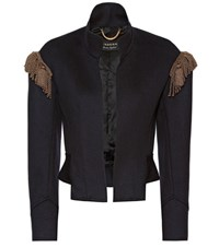 Burberry Embellished Wool Military Jacket Blue