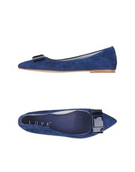 Love Footwear Ballet Flats Women Dark Blue