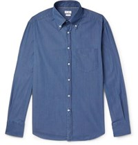 Brunello Cucinelli Slim Fit Button Down Collar Cotton Chambray Shirt Blue