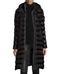 Moncler Long Shiny Quilted Down Coat Black