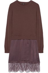 Clu Lace Trimmed Cotton Jersey And Washed Silk Dress Plum