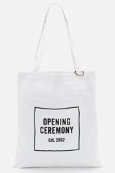 Opening Ceremony Laminated Linen Eco Tote Bag White