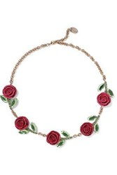 Red Valentino Gold Tone Crystal And Resin Necklace Fuchsia