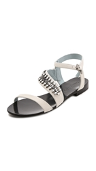 Dannijo Riles Embellished Sandals White