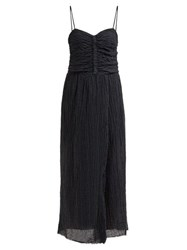 Masscob Lucia Ruched Linen Blend Maxi Dress Black