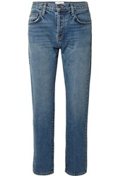 Current Elliott The Original Straight Cropped Mid Rise Jeans Mid Denim