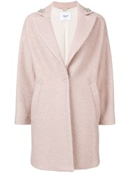 Blugirl Embellished Single Breasted Coat Nude And Neutrals