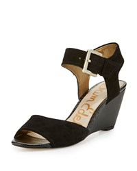 Sam Edelman Shirley Suede Demi Wedge Sandal Black