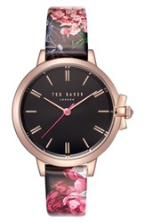 Ted Baker London Leather Strap Watch 36Mm Printed Black Rose Gold