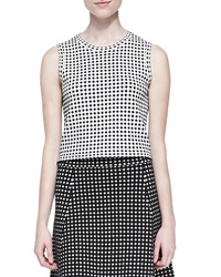 Theory Breeta D Sleeveless Dot Print Crop Top Ivory Black