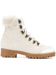 Mr And Mrs Italy Trimmed Hiker Boots White