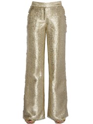 Gianluca Capannolo Fringed Flared Lurex Tweed Pants