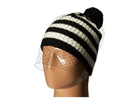 Bcbgmaxazria Striped Veil Beanie Black White Beanies