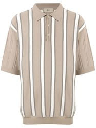 Loveless Striped Polo Shirt Brown