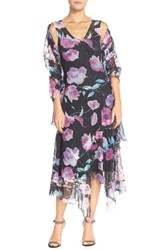 Petite Women's Komarov Tiered Floral Chiffon A Line Dress And Shawl Velvet Carnation