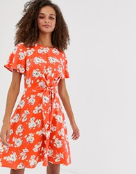 Oasis Floral Tie Waist Dress Multi