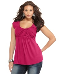 Soprano Plus Size Cap Sleeve Ruched Empire Top