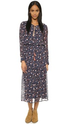Wayf Long Boho Dress Navy Floral