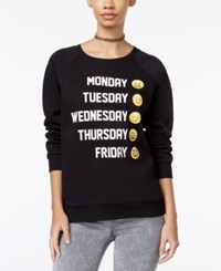 Freeze 24 7 Juniors' Emoji Graphic Sweatshirt True Black