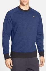 Men's Nike 'Aw77' French Terry Crewneck Sweater Game Royal Black Heather