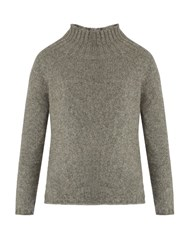 Max Mara Roll Neck Cashmere And Mohair Blend Sweater Grey